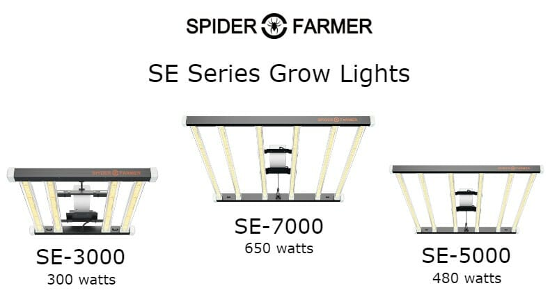 spider farmer se series grow light se-3000 se-5000 se-7000